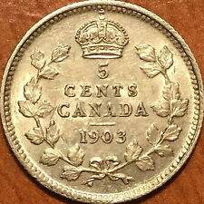 1903 CANADA SILVER 5 CENTS COIN - Fantastic example!