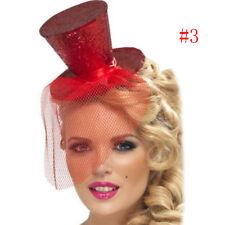 Ladies Mini Glitter Top Hat Headband Veil Burlesque Hen Night Party Fancy-Ullm