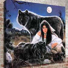 """Midnight Blue Wolf Girl HD Canvas Print 24""""x26"""" Home Decor Paintings Art Picture"""
