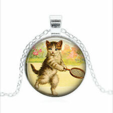 cat jewelry, tennis Tibet silver Glass dome Necklace chain Pendant Wholesale