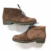 Women's Salvatore Ferragamo Brown Suede Flat Chukka Ankle Boots Sz 5 Lace Up