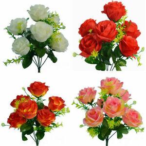 7 Köpfe Künstliche Blume Bunch Seide Rose Blumen Bund Hochzeit Party Hause Dekor