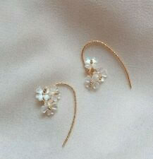 Shiny Mother Of Pearl Shell Flowers Floral Hoop Drop Earrings 18K Gold Plated
