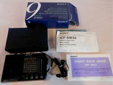 SONY ICF-SW20 FM/MW/SW 9 BAND RECEIVER in Original Box with PAPERWORK, CASE, EAR