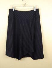 Moda International Skirt Sz Large Black Wrap Asymmetrical A-Line Pin Striped