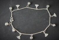 Damen Fußkette Glöckchen Muschel - 925 Sterling Silber Fußkettechen verstellbar
