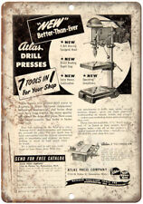 "Atlas Drill Press Precision Tools Ad 10"" X 7"" Reproduction Metal Sign Z30"