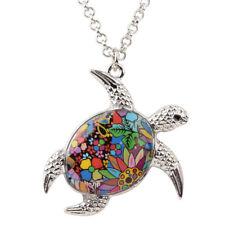 Enamel Alloy Tortoise Turtle Necklace Pendant Chain Charm Jewelry For Women Gift
