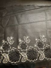 Black Gold Embroidered Tulle Lace Floral Dress Trim