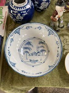 """Deborah Sears Isis Oxford, Blue & White English Delft Bowl 8 1/2"""" Diameter"""