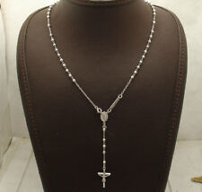 """17"""" 3mm Diamond Cut Rosary Chain Cross Crucifix Necklace Real 10K White Gold"""