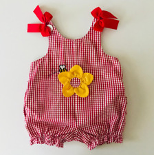 Class Club Vintage 90s Baby Girl 3 Months Romper Red