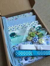 "Patchwork Craft Kit Blue Green 4"" Fabric Squares Ribbon Buttons Floral Gift"