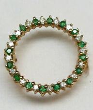 Stunning 14K Solid Yellow gold Emerald and Diamond Circle Pin