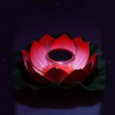 Solar Power Lotus Flower LED Lights Lamp Floating Pond Garden Night Light