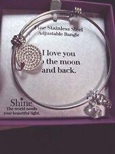 I love you to moon back charm dangle stainless steel bangle adjustable bracelet