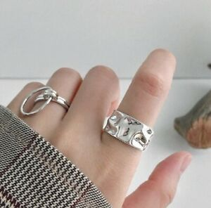 Chunky Abstract Irregular Ring 925 Sterling Silver Plated Adjustable Finger