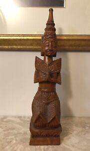 "Vintage Hand Carved Wood Thai Angel  Kneeling Praying Buddha 12"" Tall"