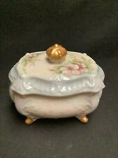 Vintage Porcelain Cigarette/Trinket Box for Ladies Vanity/ Hand Painted 22k gold