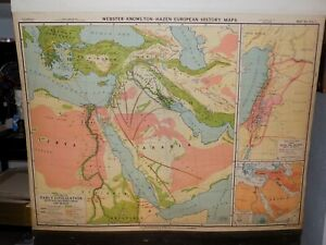 c.1940 NYSTROM WALL MAP CENTERS OF EARLY CIVILIZATION LARGE PULL DOWN MAP GOOD