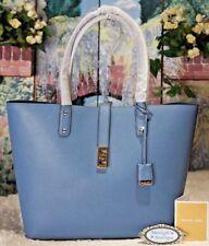 NWT MICHAEL KORS KARSON LARGE Carryall Tote Bag In DENIM Blue Leather $398