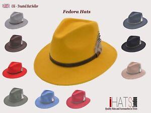 Unisex Fedora Hat Long Brim Supreme Quality Felt Indiana Jones- iHATS London UK