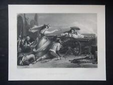 GRAVURE ANCIENNE 19e -  LA FILLE DE SARAGOSSE D'APRÈS WILKIE-    - 30 X 24 CM