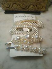 Elegant Pearl Hair Clip Pin Barrettes Fashion Accessories Clips Pins Women 4 Pc