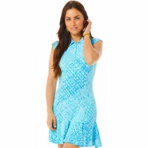 IBKUL Liz Sleeveless Polo Dress Jade/Lavender Golf S M XL UPF 50 1/4 Zip