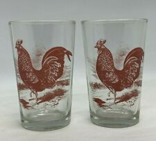Pair Red Rooster Votive Candle Holder Juice Glass Creative Co-Op Country Kitchen