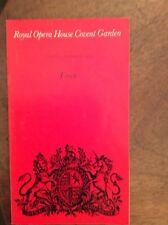 Royal Opera House Covent Garden Programme Tosca Friday 3 November 1972