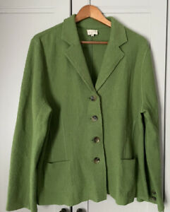 Ladies EAST 100% Boiled Wool Blazer Jacket Size 18 Green