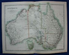 Original antique map AUSTRALIA, TASMANIA,  A.K. Johnston, 1896