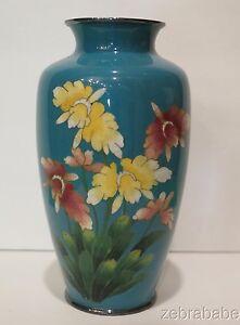 Antique Vintage Meiji Period Cloisonne Vase Floral