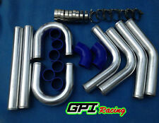 "2.5"" 64mm Aluminum Universal Intercooler Turbo Piping pipe + Blue hose kit"