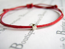 tiny silver heart charm red wax cord string adjustable friendship bracelet gift