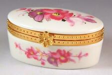 NEW PINK PURPLE FLORAL DECORATED PORCELAIN HINGED OVAL SHAPE TRINKET /  PILL BOX