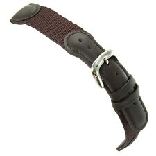 19mm DeBeer Swiss Army Padded Brown Nylon and Leather Watch Band