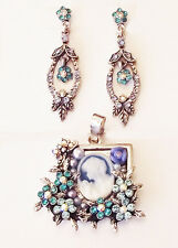 "ICON 24"" BLUE CRYSTAL ACRYLIC MADONNA CAMEO SILVER NECKLACE EARRINGS SET NEW"