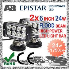 "2x 6"" A&B 24W 8-LED WORK LIGHT BAR OFFROAD WORK LAMP Flood Beam 1750LM"