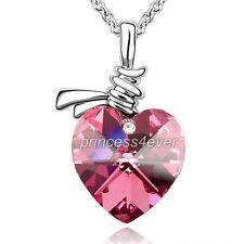 6 Carat Pink Heart Necklace use Swarovski Crystal SN358