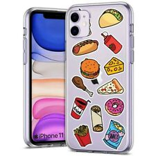 Thin Gel Phone Case for Apple iPhone 11,XS,XR,8 Series,Sticker 13 Food Print