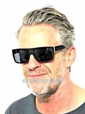 London Design SUNGLASSES Flat Top Matte Black Frames Silver Metal Hinge Style 80