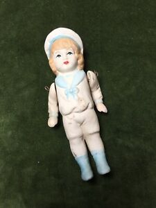 Antique Thuringia Doll German Unglazed Porcelain China Sailor Moving Limbs Small