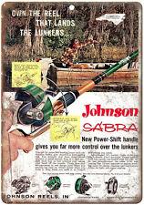 "Johnson Sabra Fishing Reels 10'"" x 7"" reproduction metal sign"