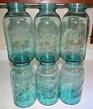 6 Blue Ball Perfect Mason Half Gallon Jars Canning Fruit Lot Set 1/2 Vtg Antique