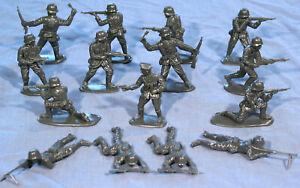 Matchbox WWII German Infantry - 15 54mm unpainted GRAY figures mint sealed bag