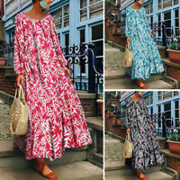 Plus S-5XL Women's Crew Neck Long Maxi Dress Kaftan Tops Floral Print Full Dress