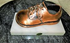 Collectible Vintage Italian Bronze Copper Baby Shoe Ivory Marble Stand Base