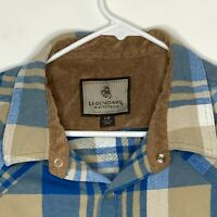 Legendary Whitetails Mens Flannel Pearl Snap Shirt LS Blue Tan Plaid Large